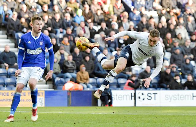 """Soccer Football - Championship - Preston North End vs Ipswich Town - Deepdale, Preston, Britain - February 24, 2018 Preston's Louis Moult in action with Ipswich Town's Adam Webster Action Images/Paul Burrows EDITORIAL USE ONLY. No use with unauthorized audio, video, data, fixture lists, club/league logos or """"live"""" services. Online in-match use limited to 75 images, no video emulation. No use in betting, games or single club/league/player publications. Please contact your account representative for further details."""