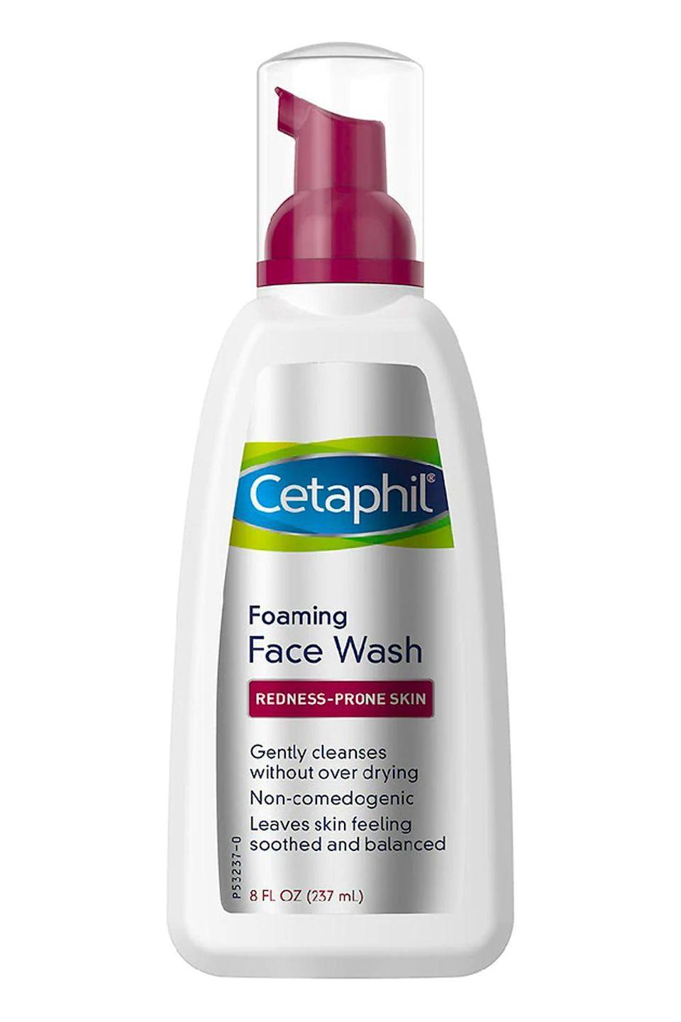 """<p><strong>Cetaphil</strong></p><p>amazon.com</p><p><strong>$10.49</strong></p><p><a href=""""https://www.amazon.com/dp/B01MG4OX6Q?tag=syn-yahoo-20&ascsubtag=%5Bartid%7C10049.g.35089763%5Bsrc%7Cyahoo-us"""" rel=""""nofollow noopener"""" target=""""_blank"""" data-ylk=""""slk:Shop Now"""" class=""""link rapid-noclick-resp"""">Shop Now</a></p><p>Legit every dermatologist recommends this drugstore <a href=""""https://www.cosmopolitan.com/style-beauty/beauty/a25325527/best-acne-face-wash/"""" rel=""""nofollow noopener"""" target=""""_blank"""" data-ylk=""""slk:face wash"""" class=""""link rapid-noclick-resp"""">face wash</a> to patients with rosacea (or just anyone with sensitive skin in general). The <strong>mild formula gets rid of dirt, makeup, and excess oil </strong>while minimizing redness and irritation with soothing allantoin. </p>"""