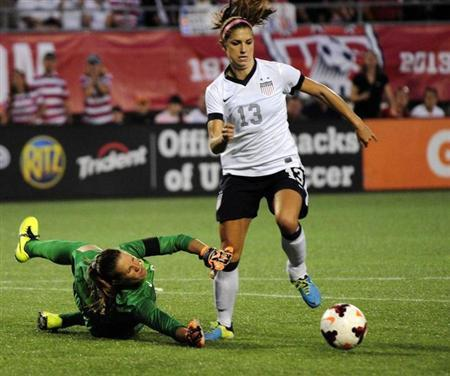 U.S. forward Alex Morgan (13) dribbles the ball around Brazil goalkeeper Luciana (12) in the second half at Florida Citrus Bowl. David Manning-USA TODAY Sports