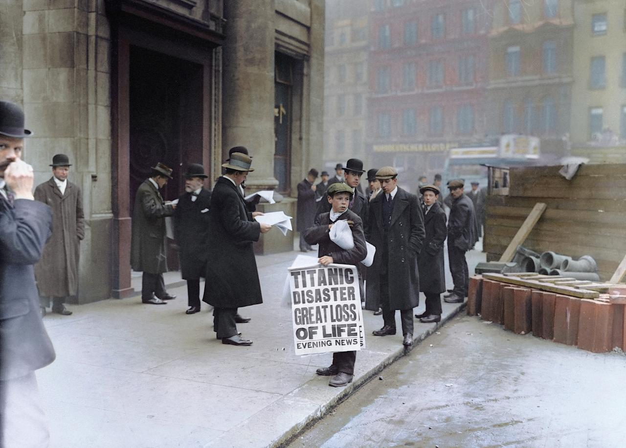 <p>Newsboy Ned Parfett sells copies of The Evening news outside the London offices of White Star Line, the shipping company which built and operated the Titanic, in April 1912. (Head of Zeus Books) </p>