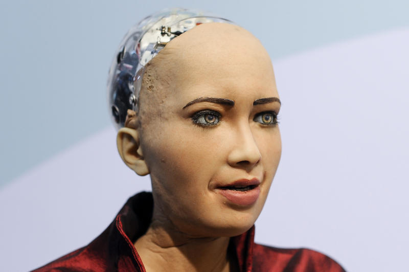 Sophia, the humanoid robot, created by Hanson Robotics, exhibited during the Mobile World Congress, on February 26, 2019 in Barcelona, Spain. (Photo by Joan Cros/NurPhoto via Getty Images)