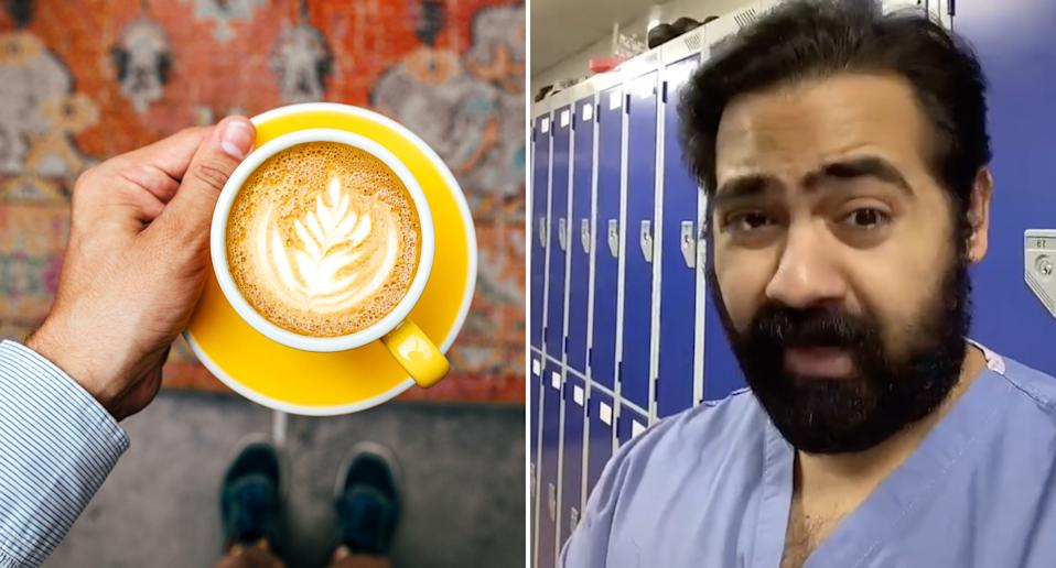 In news likely to ruin your day, Dr Karan Raj explains your morning coffee is likely to contain cockroaches. Source: TikTok/ Karan Raj & Getty Images (file pic)