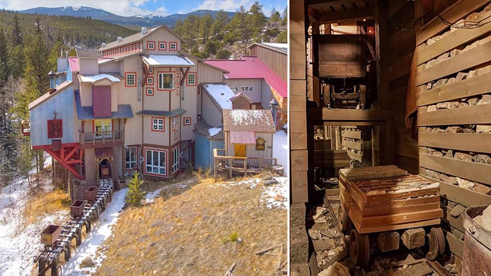 An exterior of the Colorado home on the left with a photo of the mine shaft on the right.