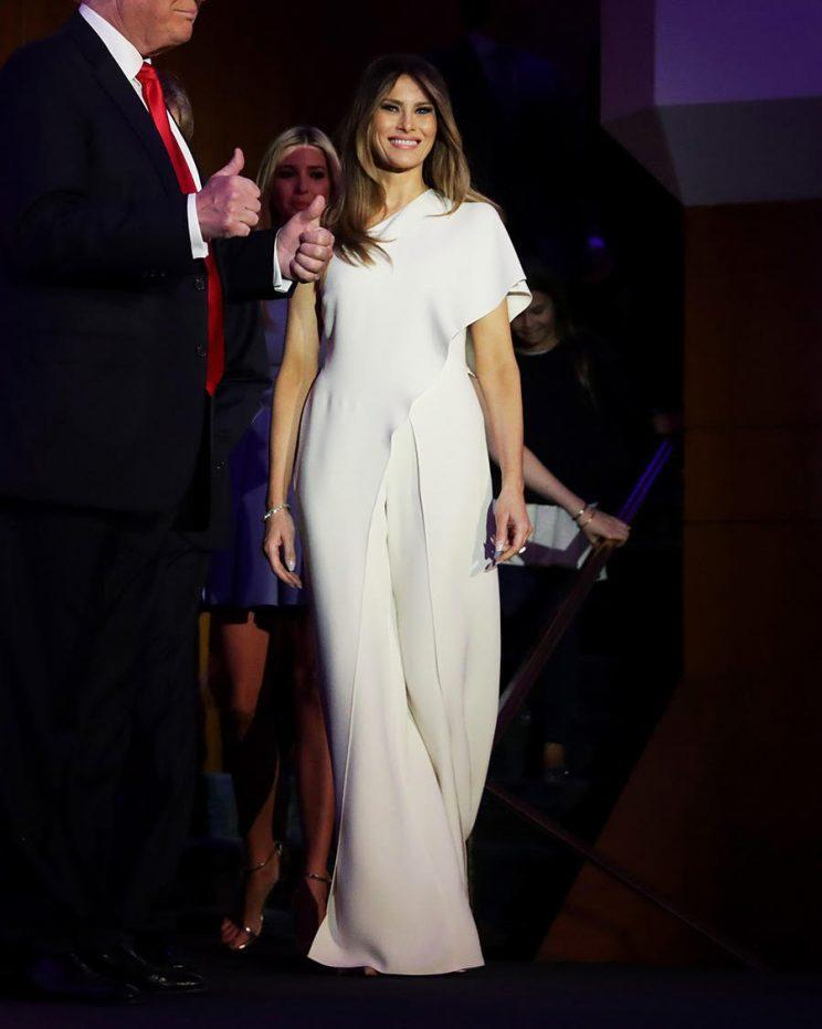 Melania Trump wears a white Ralph Lauren jumpsuit on election night (Photo: Getty Images)
