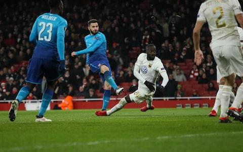 """Humiliation was narrowly averted but, as an audition for Sunday's League Cup final against Manchester City, Arsenal's fringe players delivered the footballing equivalent of forgetting all their lines and then falling off the stage in a big heap. Yes, they did ultimately ensure their place in the last 16 of the Europa League by an aggregate 4-2 scoreline but, having gone 2-0 down against a club who have been in existence for less time than Arsene Wenger has been Arsenal manager, the wobble was still spectacular. In isolation, a 2-1 defeat on the night was also among the worst results in Arsenal's entire history. Ostersunds, after all, are making their debut in European competition and had only played this fixture amid limited training due to freezing conditions back home and a break since December in the Swedish league. Jack Wilshere immediately acknowledged that Arsenal """"were nowhere near it and not good enough"""" but the players were not spared in Wenger's damning assessment of the first-half. """"We were in trouble and in danger,"""" said Wenger. """"We were complacent, not focused, open when we lost the ball and no ideas when we had the ball. That's why we were in trouble. People subconsciously think they have to just turn up to win but it doesn't work like that."""" Ken Sema (R) celebrates his brilliant goal that made it 2-0 to the visitors Credit: AFP It all raises significant questions ahead of Sunday's final. Alex Iwobi, who hobbled off with cramp, Wilshere, Danny Welbeck and Mohamed Elneny all started here and are realistically in competition for two remaining starting spaces but did nothing to advance their case. """"We are through - that is probably the only positive,"""" said Wilshere. """"We maybe underestimated them a little bit."""" If the sight of numerous empty seats suggested that Arsenal's fans were also either supremely confident or just disinterested in the prospect of facing Ostersunds, the 4,500 supporters in the away section underlined the enormity of this fixture for """