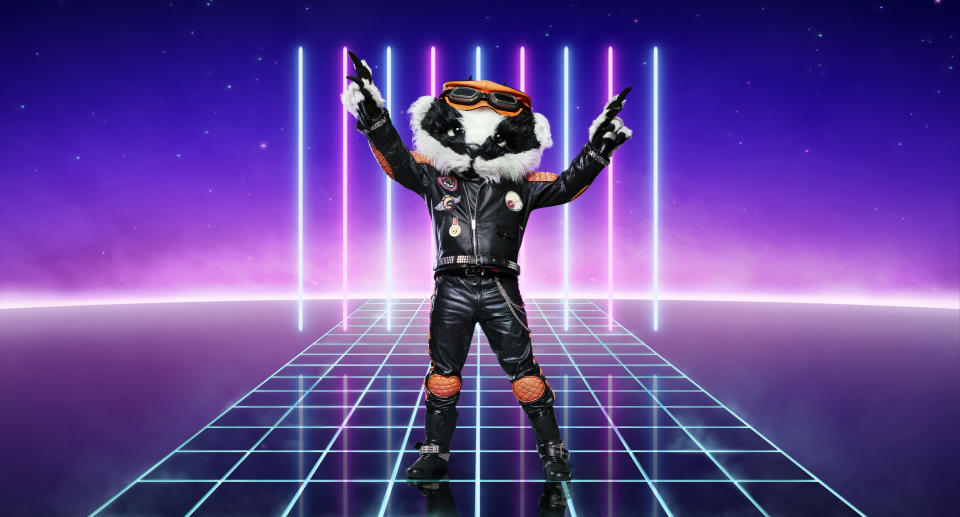 From Bandicoot TV  The Masked Singer: SR2 on ITV  Pictured: Badger.  This photograph is (C) ITV Plc and can only be reproduced for editorial purposes directly in connection with the programme or event mentioned above, or ITV plc. Once made available by ITV plc Picture Desk, this photograph can be reproduced once only up until the transmission [TX] date and no reproduction fee will be charged. Any subsequent usage may incur a fee. This photograph must not be manipulated [excluding basic cropping] in a manner which alters the visual appearance of the person photographed deemed detrimental or inappropriate by ITV plc Picture Desk.  This photograph must not be syndicated to any other company, publication or website, or permanently archived, without the express written permission of ITV Picture Desk. Full Terms and conditions are available on the website www.itv.com/presscentre/itvpictures/terms  For further information please contact: james.hilder@itv.com / 0207 157 3052