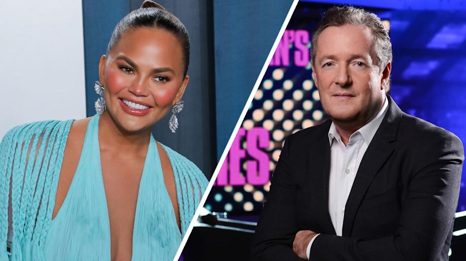 A composite image showing (L) Chrissy Teigen  and (R) Piers Morgan  (Getty/ITV)
