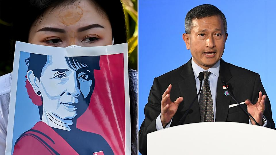 In Parliament on Monday (1 March), Singapore's Foreign Minister Vivian Balakrishnan reiterated his call for a cessation of all acts of violence in Myanmar. (PHOTOS: Getty Images)