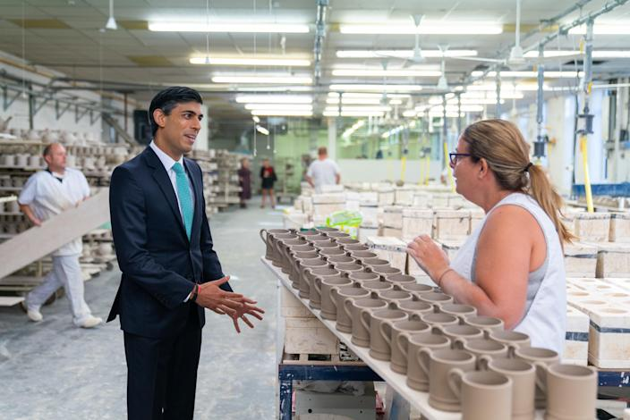 Rishi Sunak visiting pottery firm Emma Bridgewater. Photo: HM Treasury / Zara Farrar