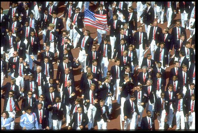 17 SEP 1988: THE UNITED STATES OLYMPIC SQUAD MARCH THROUGH THE STADIUM DURING THE OPENING CEREMONY OF THE 1988 SEOUL OLYMPICS.