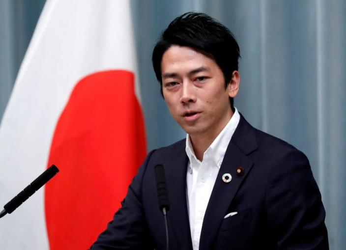 FILE PHOTO : Japan's Environment Minister Koizumi attends a news conference at PM Abe's official residence in Tokyo