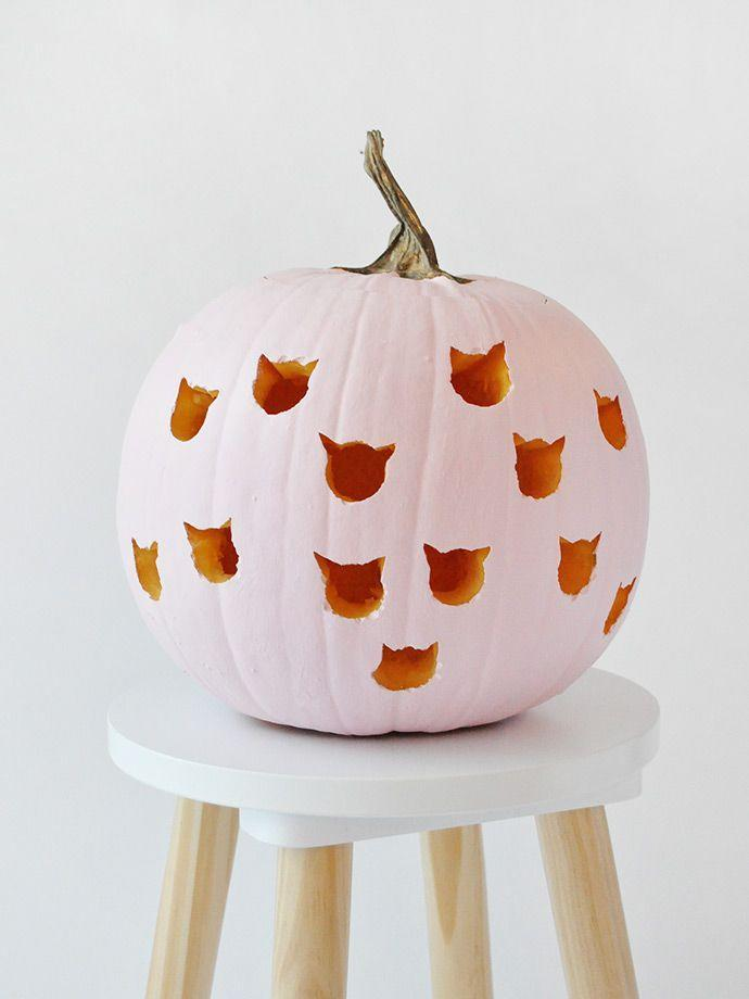 "<p>Draw inspiration from your feline friend when dreaming up your carving idea. Rather than using a knife, simply drill the shapes into your pumpkin.</p><p><strong>Get the tutorial at <a href=""https://www.handmadecharlotte.com/diy-cat-drilled-pumpkins/"" rel=""nofollow noopener"" target=""_blank"" data-ylk=""slk:Handmade Charlotte"" class=""link rapid-noclick-resp"">Handmade Charlotte</a>.</strong></p><p><strong><a class=""link rapid-noclick-resp"" href=""https://www.amazon.com/Apple-Barrel-Acrylic-PROMOABI-Assorted/dp/B00ATJSD8I/?tag=syn-yahoo-20&ascsubtag=%5Bartid%7C10050.g.279%5Bsrc%7Cyahoo-us"" rel=""nofollow noopener"" target=""_blank"" data-ylk=""slk:SHOP PAINT"">SHOP PAINT</a><br></strong></p>"