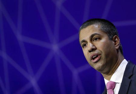 Pai, Chairman of U.S Federal Communications Commission, delivers his keynote speech at Mobile World Congress in Barcelona