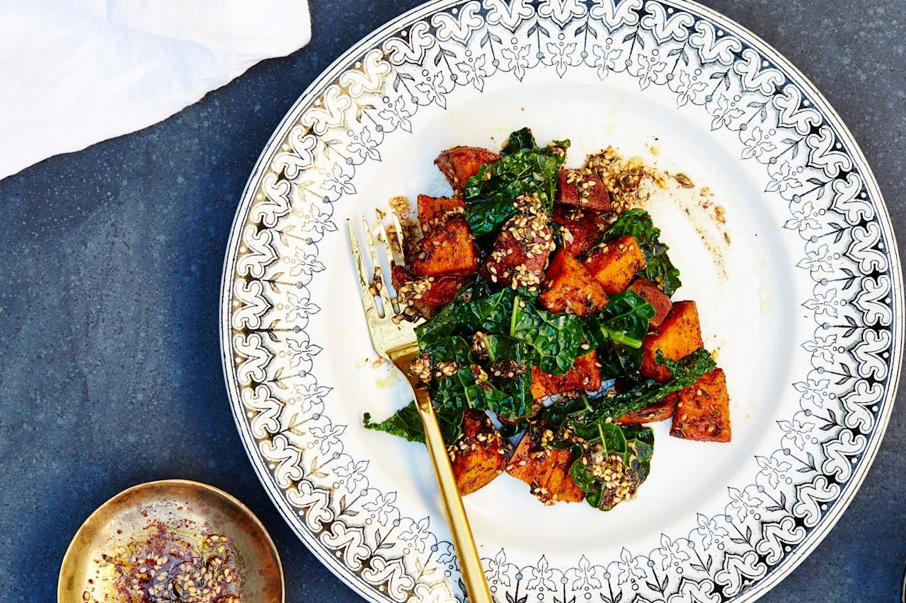 "This is a healthy alternative to the usual sugar-laden sweet potato sides at Thanksgiving. What it is lacking in sugar, however, it makes up for in the flavor department. <a href=""https://www.epicurious.com/recipes/food/views/zaatar-sweet-potatoes-and-garlicky-kale?mbid=synd_yahoo_rss"">See recipe.</a>"