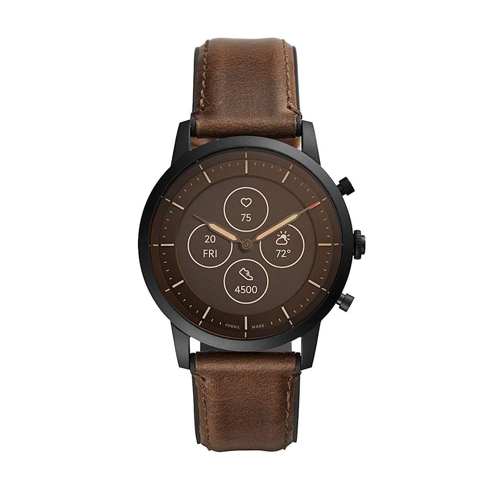 """<p><strong>Fossil</strong></p><p>amazon.com</p><p><strong>$156.93</strong></p><p><a href=""""https://www.amazon.com/dp/B07SY4V5QQ?tag=syn-yahoo-20&ascsubtag=%5Bartid%7C2089.g.864%5Bsrc%7Cyahoo-us"""" rel=""""nofollow noopener"""" target=""""_blank"""" data-ylk=""""slk:Shop Now"""" class=""""link rapid-noclick-resp"""">Shop Now</a></p><p>At a quick glance, the Fossil Collider HR like a classic chronograph timepiece with mechanical hands and a three-button layout. But with a built-in always-on display and a heart rate sensor, the hybrid smartwatch is as feature-packed as it is elegant. </p><p>The Collider HR will effortlessly deliver notifications from your phone, as well as keep tabs on your activities, among many other functions. Its buttons are customizable via Fossil's intuitive mobile app. </p><p>The stainless steel timepiece is waterproof up to 50 meters. You can order it on a bracelet or an elegant leather strap. They are easy to replace, allowing users to make the Collider HR their own.</p>"""