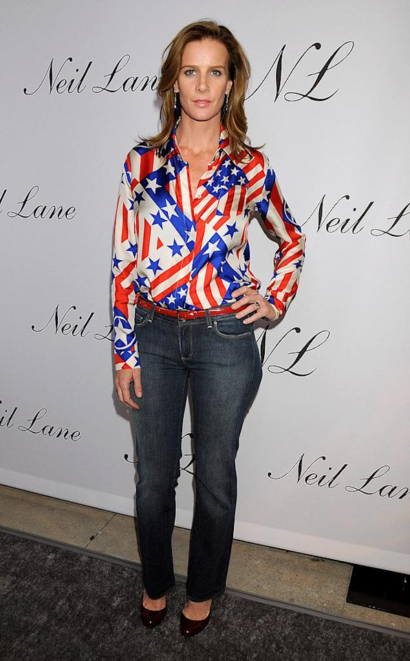 "Aussie-born Rachel Griffiths (""Brothers and Sisters"") donned a bizarre patriotic top. Gregg DeGuire/<a href=""http://www.wireimage.com"" target=""new"">WireImage.com</a> - October 29, 2008"