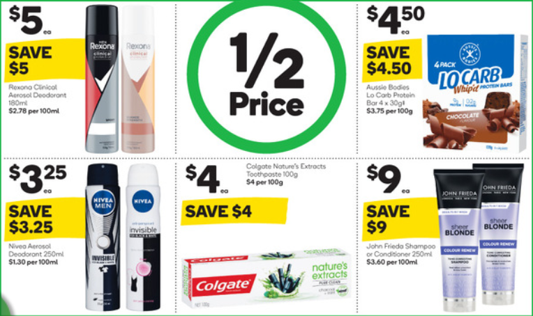 Toiletries and diet bars at Woolworths selling for half-price this week.