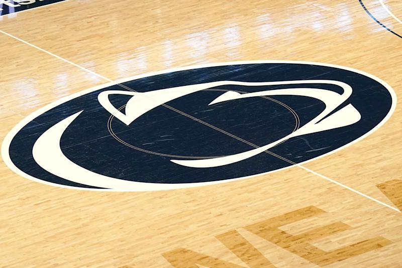 UNIVERSITY PARK, PA - FEBRUARY 18: The Penn State Nittany Lions logo on the floor before a college basketball game against the Penn State Nittany Lions at the Bryce Jordan Center on February 18, 2020 in University Park, Pennsylvania. (Photo by Mitchell Layton/Getty Images) *** Local Caption ***