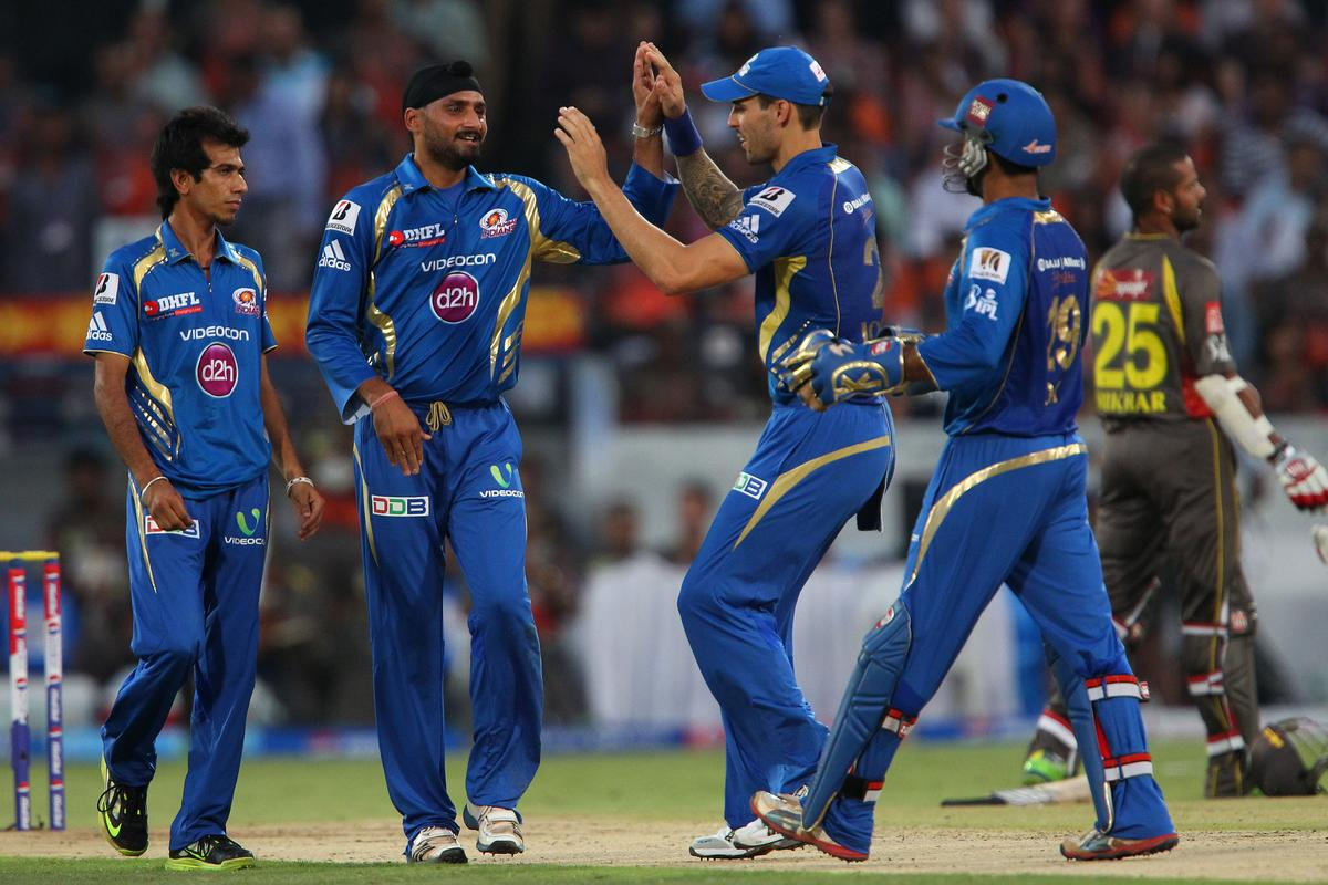 Harbhajan SIngh celebrates the wicket of Kumar Sangakkara during match 43 of the Pepsi Indian Premier League between The Sunrisers Hyderabad and Mumbai Indians held at the Rajiv Gandhi International  Stadium, Hyderabad  on the 1st May 2013..Photo by Ron Gaunt-IPL-SPORTZPICS ..Use of this image is subject to the terms and conditions as outlined by the BCCI. These terms can be found by following this link:..https://ec.yimg.com/ec?url=http%3a%2f%2fwww.sportzpics.co.za%2fimage%2fI0000SoRagM2cIEc&t=1500735395&sig=UwP7Lc_dhc_aUEwUG5eA3w--~C