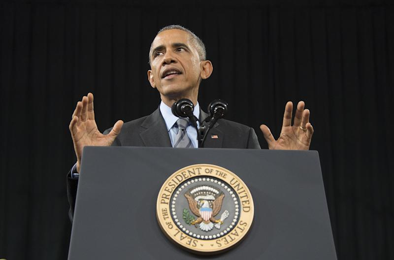 US President Barack Obama delivers remarks on the new steps he will be taking within his executive authority on immigration at Del Sol High School in Las Vegas, Nevada, November 21, 2014