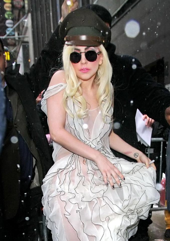 """Lady Gaga and her idol, Cyndi Lauper, dropped by """"Good Morning America"""" on Wednesday to chat about their roles in M.A.C.'s Viva Glam Campaign for HIV/AIDS awareness. The Fund has raised over $150 million since its introduction in 1994. Jackson Lee/<a href=""""http://www.splashnewsonline.com"""" target=""""new"""">Splash News</a> - February 10, 2010"""