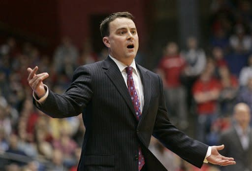 Dayton head coach Archie Miller reacts to a play during the first half of an NCAA college basketball game, Friday, Dec. 30, 2011, in Dayton, Ohio. (AP Photo/Skip Peterson)