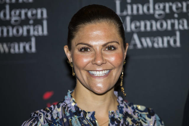 Crown Princess Victoria of Sweden takes photos of her children for official release. (Getty Images)