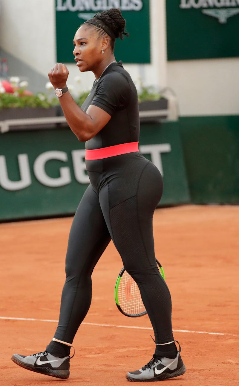 Serena Williams of the US reacts after a point against Germany's Julia Goerges during their women's singles third round match on day seven of The Roland Garros 2018 French Open tennis tournament in Paris on June 2, 2018. (Photo by Thomas SAMSON / AFP) (Photo credit should read THOMAS SAMSON/AFP/Getty Images)