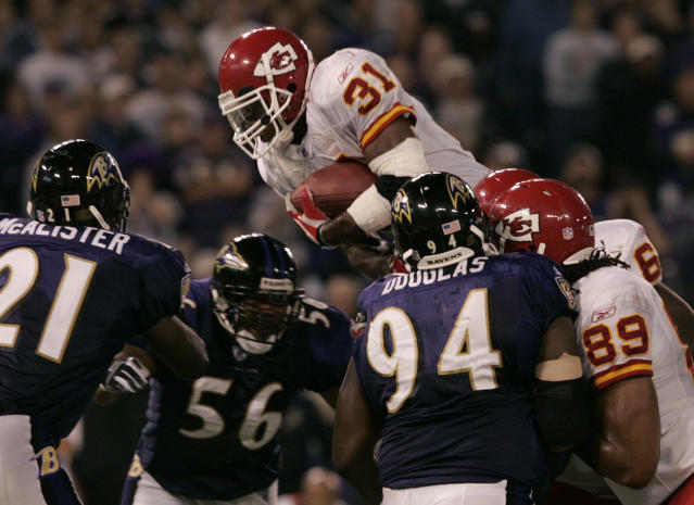 Priest Holmes rushed for more than 5,000 yards and 70 touchdowns as a Kansas City Chief. (AP)
