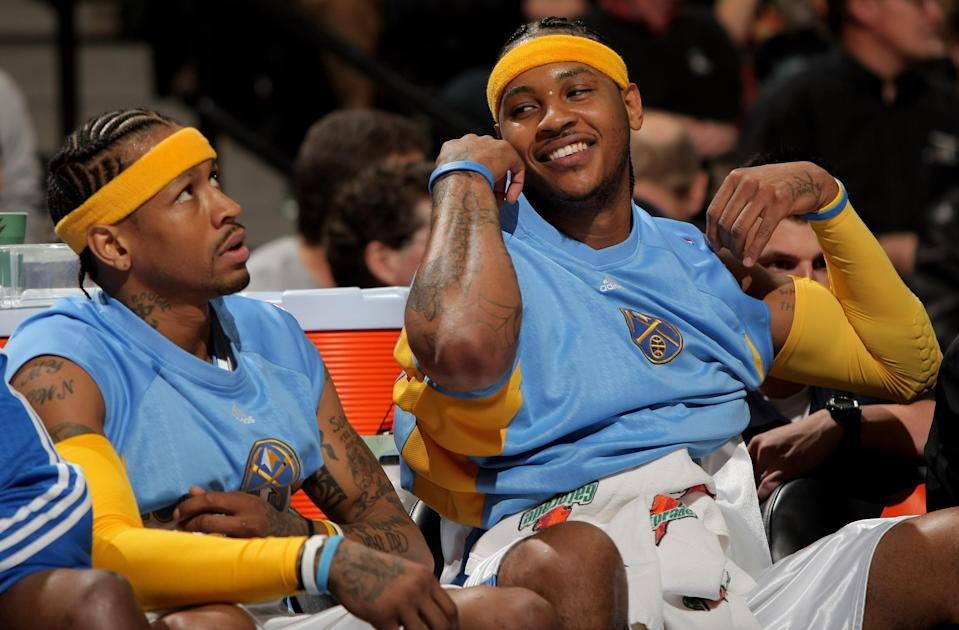Carmelo Anthony saw firsthand from Allen Iverson how to shoot your way out of the NBA. (Getty Images)