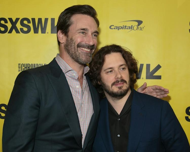 Actor Jon Hamm (L) and director Edgar Wright attend the red carpet for the premiere of the film 'Baby Driver' during The South by Southwest (SXSW) Film Festival in Austin, Texas, on March 11, 2017