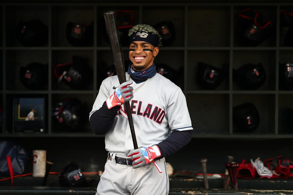 MINNEAPOLIS, MN - SEPTEMBER 12: Francisco Lindor #12 of the Cleveland Indians in the dugout prior to the game between the Cleveland Indians and the Minnesota Twins at Target Field on Saturday, September 12, 2020 in Minneapolis, Minnesota. (Photo by Harrison Barden/MLB Photos via Getty Images)