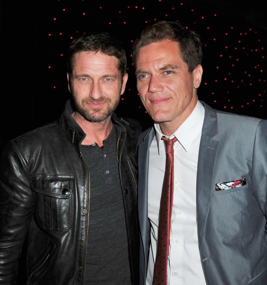 "HOLLYWOOD, CA - APRIL 22: Actors Gerard Butler and Michael Shannon attend the after party for Millennium Entertainment's ""The Iceman"" at  Supperclub on April 22, 2013 in Hollywood, California.  (Photo by Mark Sullivan/Getty Images)"