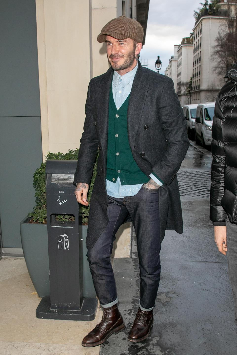 <p>David Beckham is renowned for his dapper street style wardrobe and the former footballer didn't disappoint while out and about in Paris. <em>[Photo: Getty]</em> </p>