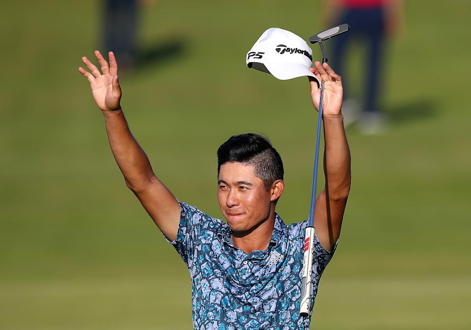 SANDWICH, ENGLAND - JULY 18: Collin Morikawa of the United States celebrates after his round on the 18th hole during Day Four of The 149th Open at Royal St George's Golf Club on July 18, 2021 in Sandwich, England. (Photo by Christopher Lee/Getty Images)