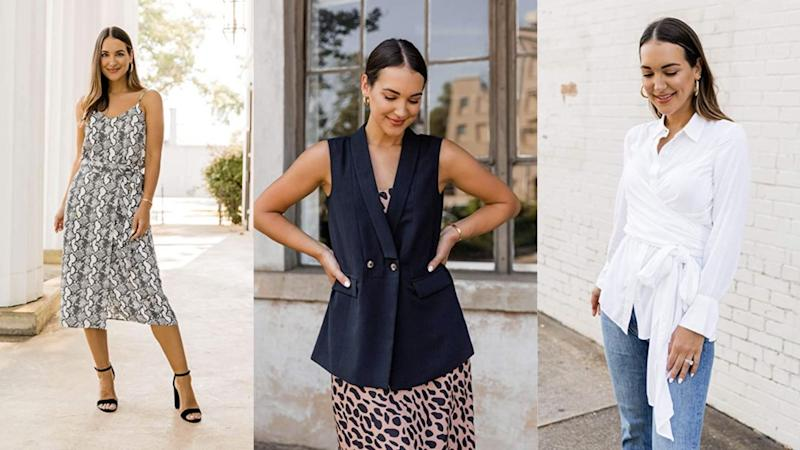 """An animal print cami, a jogger set and wrap blouse— Kathleen Barnes' collection for """"The Drop"""" is full of fashionable finds. (Photo: HuffPost)"""