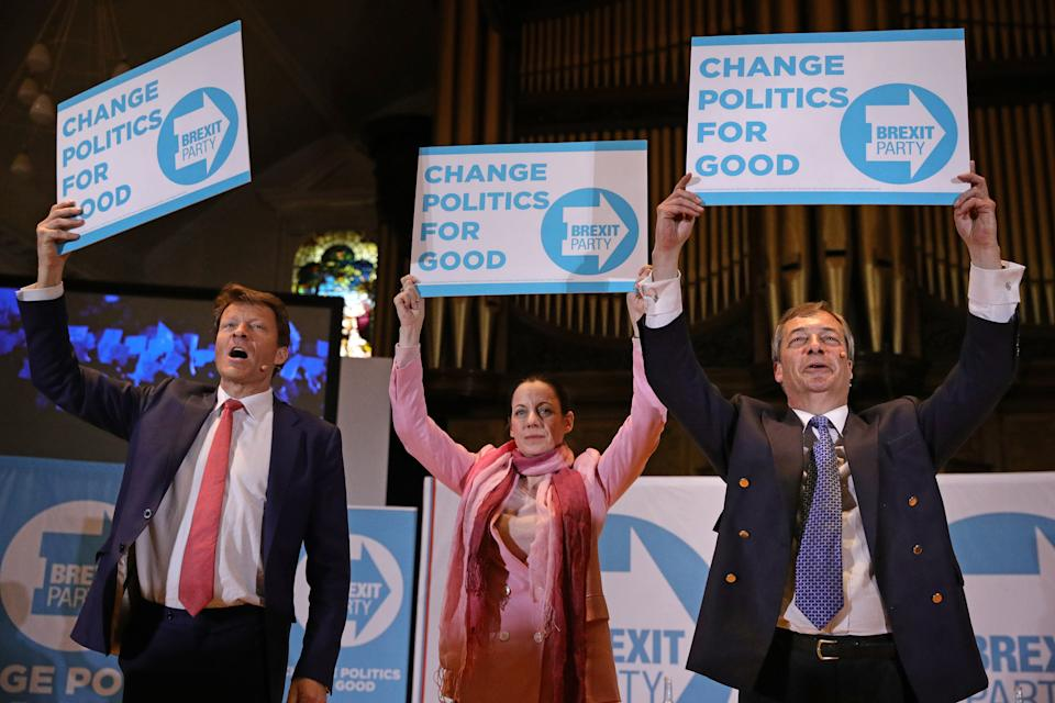 The Brexit Party attracted plenty of big names when it was formed, including party chairman Richard Tice (left) and Annunziata Rees-Mogg (right) (Picture: PA)