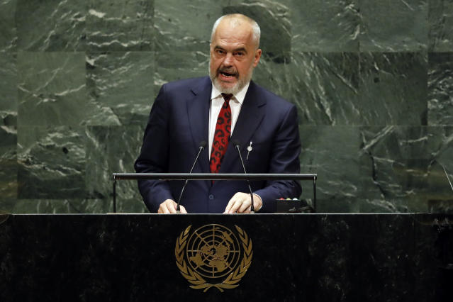 Albania's Prime Minister Edi Rama addresses the 74th session of the United Nations General Assembly, Friday, Sept. 27, 2019. (AP Photo/Richard Drew)