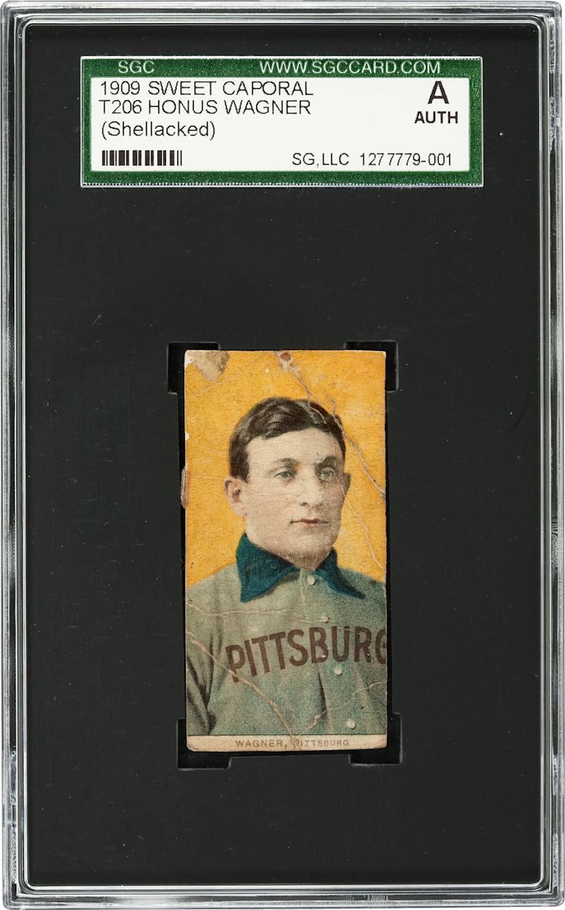 This undated photo provided by Heritage Auctions shows a rare century-old T206 Honus Wagner baseball card. A Baltimore convent is getting some help for its charitable mission from an unexpected source: this rare, century-old baseball card. The School Sisters of Notre Dame inherited the T206 Honus Wagner baseball card from a late nun's brother after he died earlier this year. About 50 of the Wagner cards are believed to exist, the most famous of which sold for $2.8 million. The nuns' card is in poor condition but is still expected to fetch up to $200,000 at auction next month. (AP Photo/Courtesy of Heritage Auctions) NO SALES