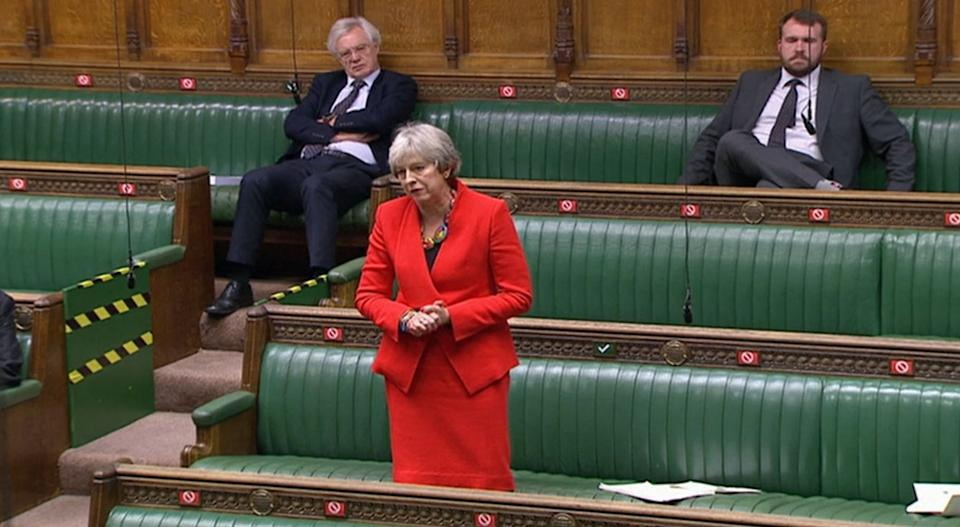Former prime minister Theresa May during the debate in the House of Commons on the EU (Future Relationship) Bill. (Photo by House of Commons/PA Images via Getty Images)