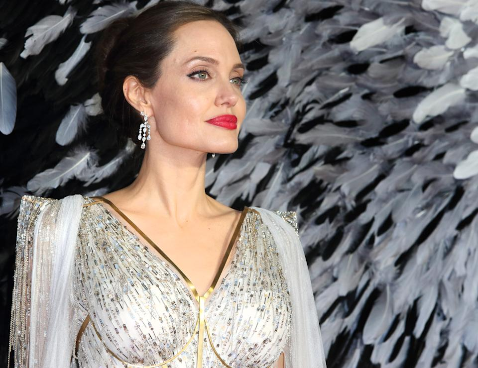 LONDON, UNITED KINGDOM - 2019/10/09: Angelina Jolie attends the Maleficent: Mistress of Evil European Film Premiere at the Odeon IMAX Waterloo in London. (Photo by Keith Mayhew/SOPA Images/LightRocket via Getty Images)