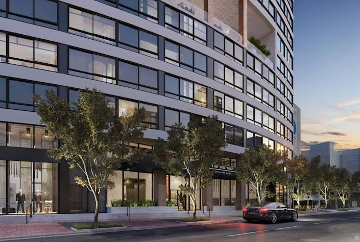Architectural rendering of the street view of the District 225 condo tower, to be built in downtown Miami.