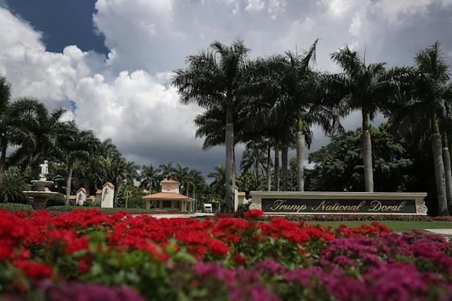 A strip club said it has scrapped a planned charity golf tournament that was to be held at the Trump National Doral course in Florida (AFP Photo/JOE RAEDLE)