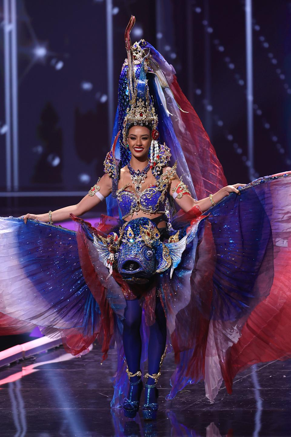 <p>Miss Universe Thailand Amanda Obdam appears onstage at the Miss Universe 2021 - National Costume Show at Seminole Hard Rock Hotel & Casino on May 13, 2021 in Hollywood, Florida. (Photo by Rodrigo Varela/Getty Images)</p>