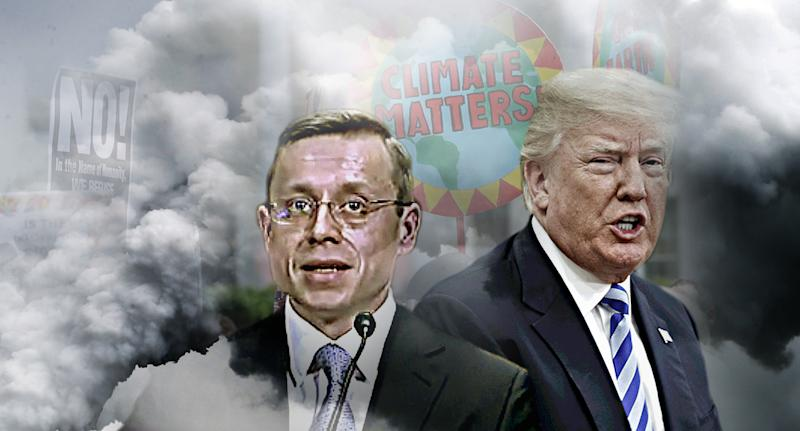 Environmentalists are highly critical of President Trump's judicial nomination of Andrew Oldham. (Photo illustration: Yahoo News; photos: Video still: Committee on the Judiciary, J. Scott Applewhite/AP, Steve Helber/AP, Joshua Roberts/Reuters)