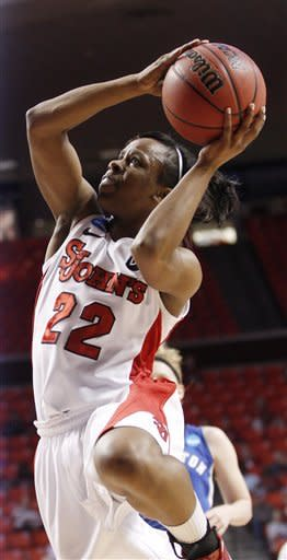 St. John's guard Eugeneia McPherson (22) shoots in the first half of an NCAA tournament first-round women's college basketball game against Creighton in Norman, Okla., Sunday, March 18, 2012. (AP Photo/Sue Ogrocki)