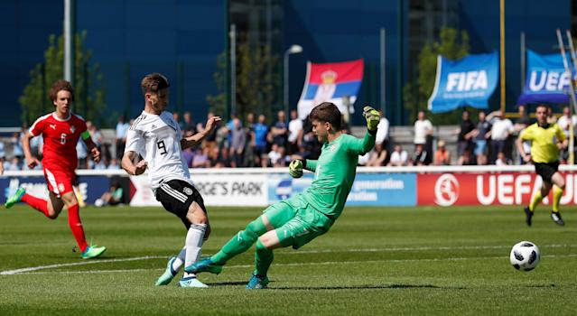 Soccer Football - UEFA European Under-17 Championship - Group D - Serbia v Germany - Loughborough University Stadium, Loughborough, Britain - May 8, 2018 Germany's Leon Dajaku scores their third goal Action Images via Reuters/Andrew Boyers
