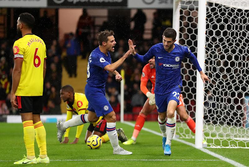 WATFORD, ENGLAND - NOVEMBER 02: Christian Pulisic of Chelsea celebrates with teammate Cesar Azpilicueta after scoring his team's second goal during the Premier League match between Watford FC and Chelsea FC at Vicarage Road on November 02, 2019 in Watford, United Kingdom. (Photo by Catherine Ivill/Getty Images)