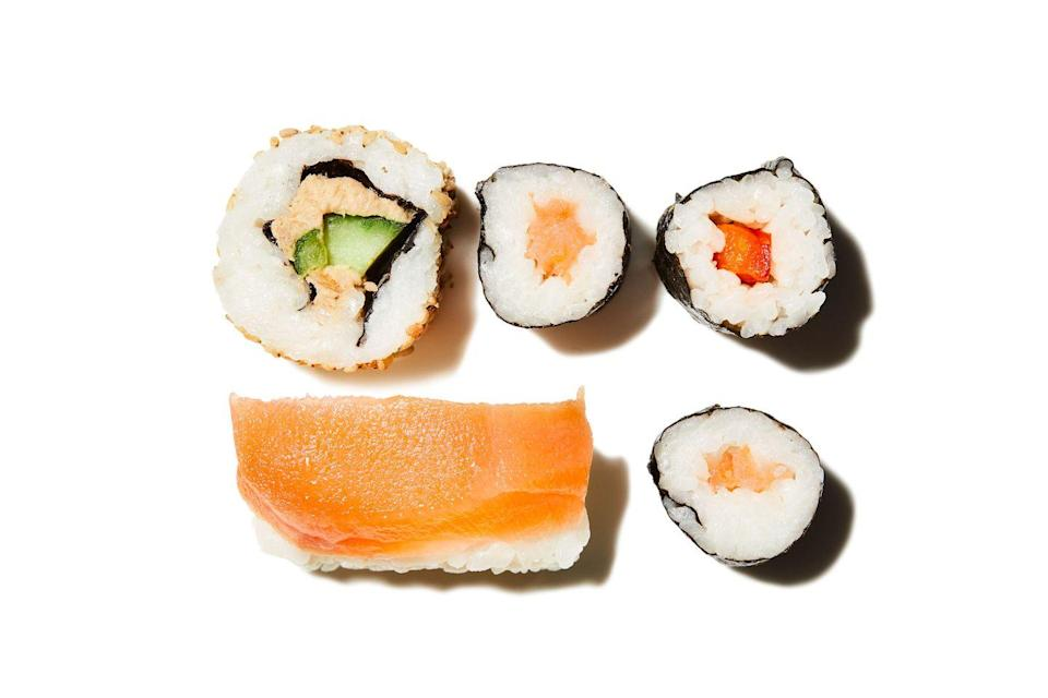 <p>Sushi isn't an everyday swap for your sandwich. Eating it too often risks elevating your mercury levels, while white rice can spike blood sugar. Plus, it's ruined by long refrigeration times. So, swerve the meal deals.</p>