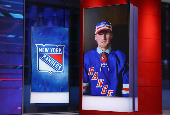 SECAUCUS, NEW JERSEY - OCTOBER 06: With the first pick of the 2020 NHL Draft, Alexis Lafreniere from Rimouski of the QMJHL is selected by the New York Rangers at the NHL Network Studio on October 06, 2020 in Secaucus, New Jersey. (Photo by Mike Stobe/Getty Images)